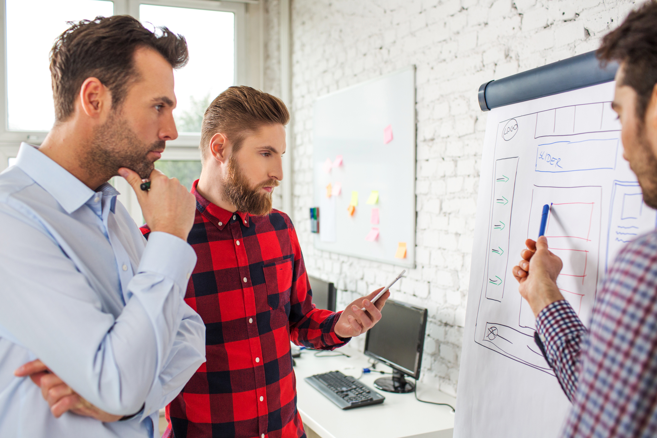 Web designers planning a website